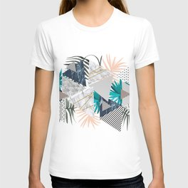 Abstract of geometric patterns with plants and marble II T-shirt