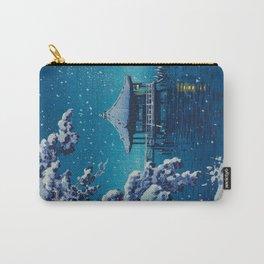 Tsuchiya Kôitsu Japanese Woodblock Vintage Print Blue Winter Snow Pagoda On Lake Carry-All Pouch