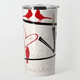 Love Letters Red Bird Clothesline A713 Travel Mug