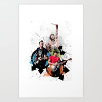 blink 182 Art Prints featuring Blink-182 - Tom Delonge, Mark Hoppus, Travis Barker by amy.