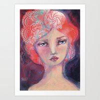 jane davenport Art Prints featuring Folie by Jane Davenport ( with logo) by Jane Davenport