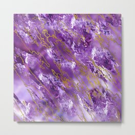 Amethyst Quartz and gold texture Metal Print