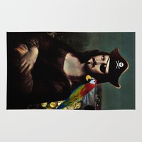 mona lisa Area & Throw Rugs featuring  Mona Lisa Pirate Captain by Gravityx9