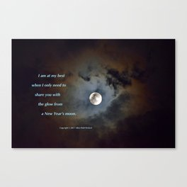 """""""Shadowy Moon #44"""" with poem: New Year's Moon Canvas Print"""