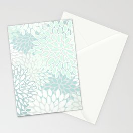 Floral Blooms, Soft Teal and Mint Stationery Cards