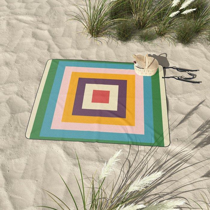 Retro Colored Square Space Picnic Blanket