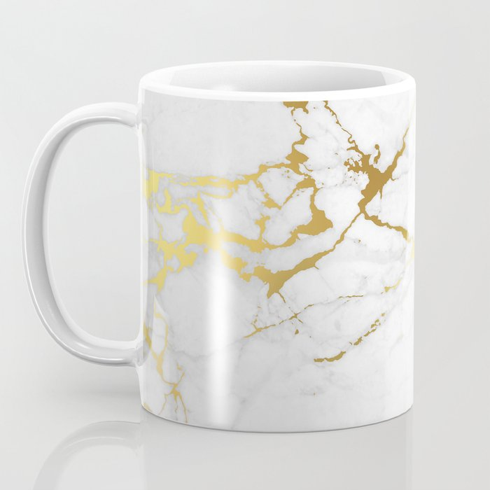 White Gold Marble Coffee Mug By Printapix Society6
