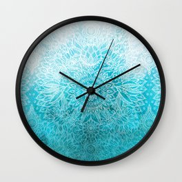 Fade to Teal - watercolor + doodle Wall Clock