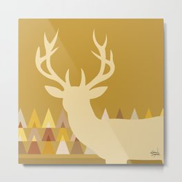 Deer Head Geometric Triangles | mustard yellow taupe Metal Print