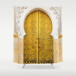 Golden Archway - Ornate Temple Style Door In Fes Morocco - Moroccan Travel Wanderlust Decor - Gold White Cream Peach Neutral Intricate Boho Bohemian Architecture Yoga Studio Decor Shower Curtain