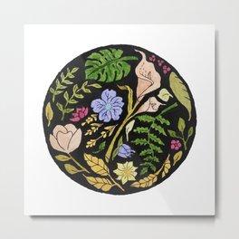 Circular Floral Pattern Design Metal Print