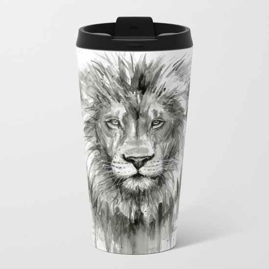 Lion Watercolor Animal Metal Travel Mug
