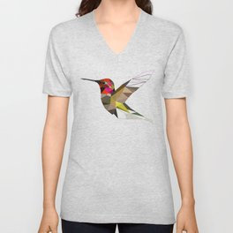 Pink hummingbird geometric bird Tropical Nature Unisex V-Neck