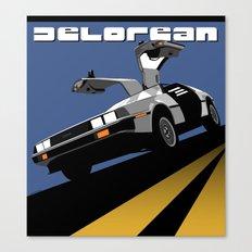 Delorean - Retro Poster; Blue Canvas Print