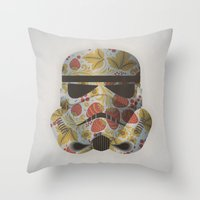 trooper Throw Pillows featuring STRAWBEЯRY TROOPER by Beardy Graphics