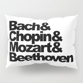 Bach and Chopin and Mozart and Beethoven, sticker, circle, white Pillow Sham