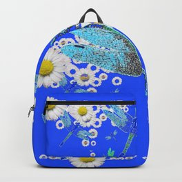 BLUE DRAGONFLIES WHITE DAISY FLOWERS  ART Backpack