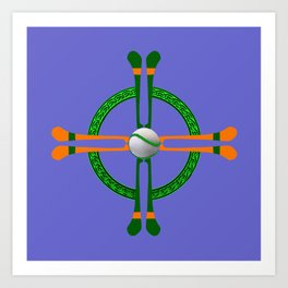 Hurley and Ball Celtic Cross Design - Solid colour background Art Print
