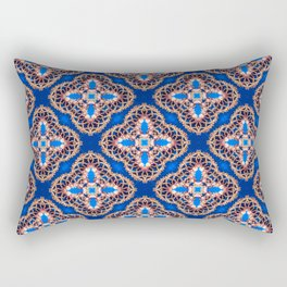 Beautiful Blue and Gold Beadwork Inspired Print Rectangular Pillow