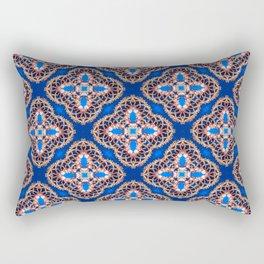 Beautiful Blue and Gold Beadwork Inspired Print Rectangular Pillow