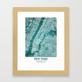 Turquoise Teal Wall Art Showing Manhattan New York City, Brooklyn and New Jersey Framed Art Print