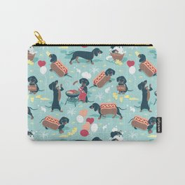 Hot dogs and lemonade // aqua background navy dachshunds Carry-All Pouch