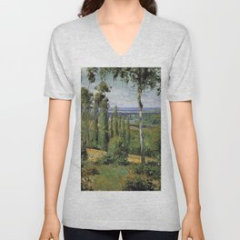 The Countryside In The Vicinity Of Conflans Saint Honorine 1874 By Camille Pissarro | Reproduction | Unisex V-Neck