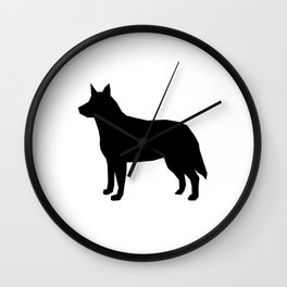 Australian Cattle Dog silhouette portrait dog pattern grey and white Wall Clock