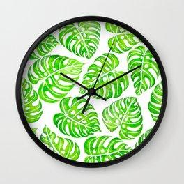 Monstera leaves watercolor Wall Clock