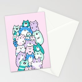 Pastel Pile of Cats Stationery Cards