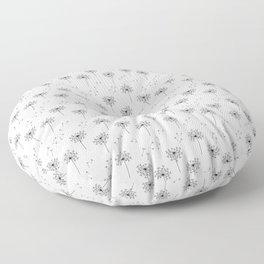 Dandelions in Black Floor Pillow