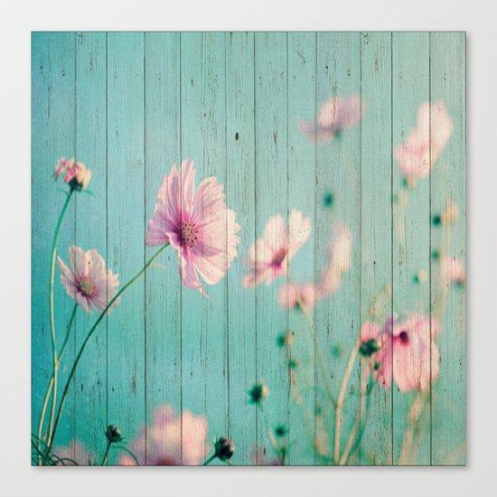 Sweet Flowers on Wood 07 Canvas Print
