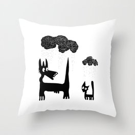 It's Raining Cats and Dogs Throw Pillow