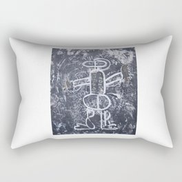 The gladiator disarmed.  Drawing, monotype ink, with a few extra touches of colors. Rectangular Pillow