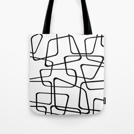 Mid Century Black And White Pattern Tote Bag