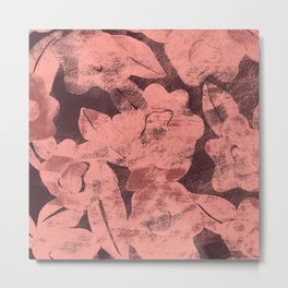 DISTRESSED FLORAL MAUVE Metal Print