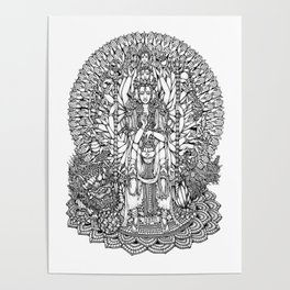 Bodhisattva Avalokiteshvara of Compassion Arms and the Imperial Guardian Lion by Kent Chua Poster