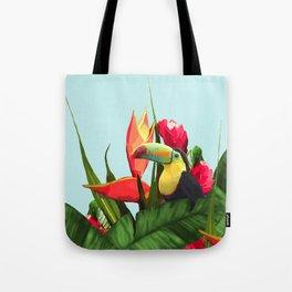 Toucan Tropical Banana Leaves Bouquet Tote Bag