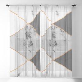 Geometric marble & copper Sheer Curtain