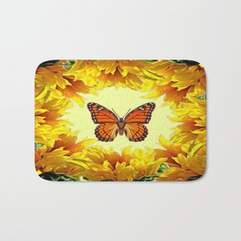 Monarch Butterfly Creany Yellow Sunflower Circle Bath Mat