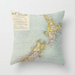 Vintage Map of New Zealand (1883) Throw Pillow