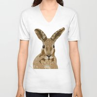 hare V-neck T-shirts featuring Happy Hare by ArtLovePassion