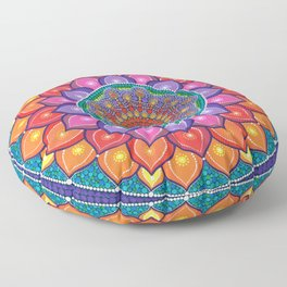 Lotus Rainbow Mandala Floor Pillow