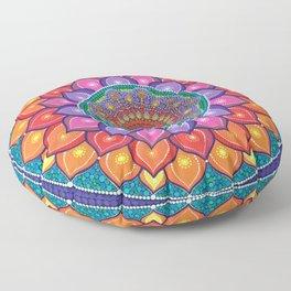 Lotus Rainbow Mandala Floor Pillow