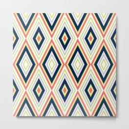 Coral and Navy Chevron Pattern Metal Print