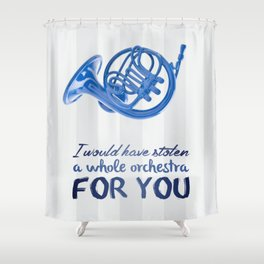 blue french horn / himym Shower Curtain