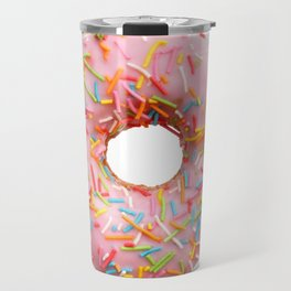 Single pink donut Travel Mug