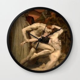 DANTE AND VIRGIL - WILLIAM-ADOLPHE BOUGUEREAU Wall Clock