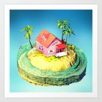 dragonball z Art Prints featuring Kame House - DragonBall Z by Neil Stratford