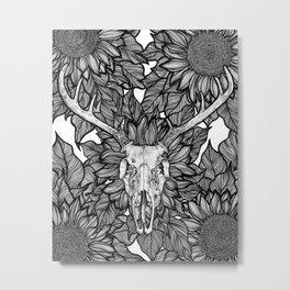 Sunflower Deer Metal Print